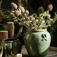 装饰摆件干花仿真花花瓶乡村做旧复古粗陶花瓶客厅陶瓷