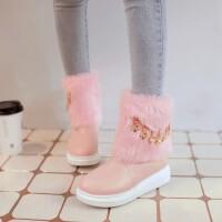 韩版秋冬女童短靴加厚绒女孩棉靴金属链子中大童毛毛靴童鞋女