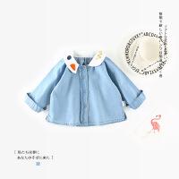春秋女童洋气牛仔衬衣女宝宝长袖衬衫小童娃娃衫婴儿韩版1春装3岁