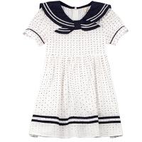 女童海军风连衣裙夏装童装女中大童短袖儿童裙子