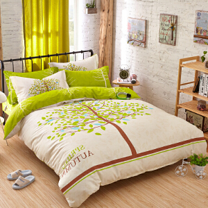 OLYI 纯棉床上用品四件套 全棉斜纹活性印花床单式家纺四件套 春实秋华床品四件套 床上四件套