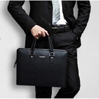 男士手提包真皮商务男包公文包横款牛皮办公包单肩包电脑包斜跨包