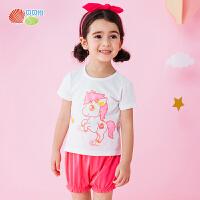 贝贝怡童装夏季婴儿衣服纯棉短袖卡通宝宝两件套女童套装162T025