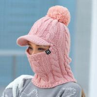 户外保暖围脖针织毛线帽子 韩版潮加绒加厚帽子女 新款女两用一体帽遮脸纯色帽子