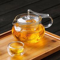 耐热玻璃花茶壶飘带壶三件式过滤内胆泡茶壶玻璃压把茶壶咖啡壶450ML玻璃水杯壶功夫茶具水杯杯子