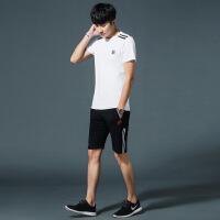 男式休闲套装夏季新款男士T恤短袖运动休闲套装青年潮流休闲男装 -012白-黑