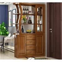 现代中式实木酒柜隔断柜玄关门厅柜橡木间厅柜客厅屏风双面储物柜 组装