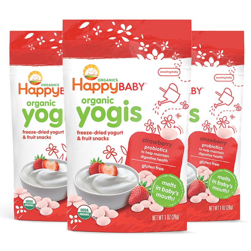 美国直邮 Happybaby禧贝 草莓酸奶溶豆 28g*3袋 海外购 新老包装随 机发货,效期20年1月