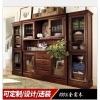 美式实木家具定制美式乡村餐边柜多功能酒柜简约现代餐边柜定做