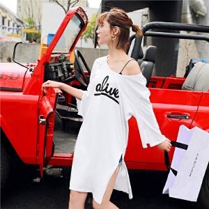 【会员节!每满100减50】七格格 白色字母T恤短袖女2018新款下衣失踪中长款小心机上衣学生