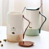 精东家品创意清新骨瓷带盖勺马克杯文艺简约大容量情侣陶瓷水杯子