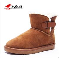 冬季潮流雪地靴保暖短靴加绒男士棉鞋加厚中筒真皮靴子男