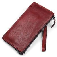 纯手工男士长款钱包钱夹复古手包头层牛皮真皮青年拉链手带手机包