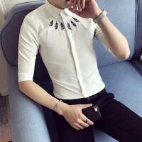 纯色七分袖衬衫男士衬衣短袖修身韩版休闲寸衣青少年寸衫