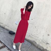 气质时尚开叉长裙女2018夏新款韩版女装收腰显瘦气质中袖连衣裙女