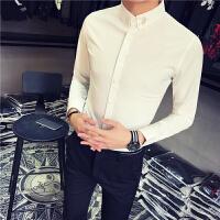 春季白衬衫男长袖 学生 青少年帅气休闲村衫韩版修身潮流衬衣