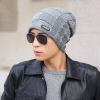男士帽子韩版潮毛线帽加绒加厚保暖棉帽针织帽套头帽护耳帽