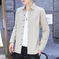 纯棉衬衫男士长袖韩版修身衬衣青年帅气寸衫潮