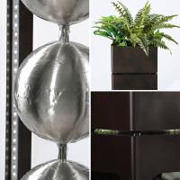 中式装饰家居摆设现代金属球流水摆件大型风水招财创意花架加湿器