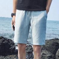 夏季格子男士休�e短�男夏天直筒修身中�5分休�e�子男��W生潮