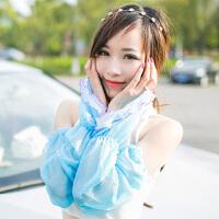 夏季雪纺蕾丝素色防晒袖套手套 简约长款遮阳防紫外线 天蓝色