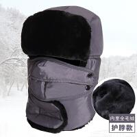 帽子男女士帽冬季东北户外防寒潮青年骑车帽防风中老年保暖帽新品 灰色 护脖款 可调节