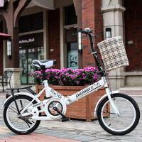 新款折叠自行车16寸20寸减震青少年单车老年男女学生儿童童车新品 20寸高配白色+礼包 适合130-180cm