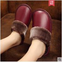 秋冬季居家牛皮棉拖鞋女士室内地板防滑牛筋底保暖拖鞋厚底男