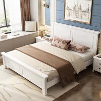 美式家具 ��木床1.8米主�P室大床�p人床 �F代��s1.5米白色�W式床