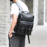 新款韩版电脑学生书包男背包双肩包女旅游包 潮流个性皮背包zl 黑色