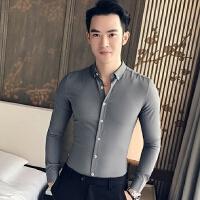 2018春秋季新款潮男修身细条纹长袖衬衫时尚都市青年帅哥休闲衬衣