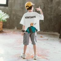 童装男童套装2019新款夏装儿童网红洋气中大童男孩帅气时髦韩版潮