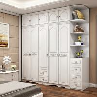 20190717225457983衣柜现代简约经济型实木板式欧式柜子家用组装卧室五门组合大衣橱 +顶柜