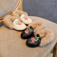 儿童鞋子毛毛鞋子绣花皮鞋宝宝棉鞋