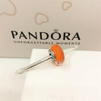 PANDORA潘多拉 橙色切面琉璃珠串饰 791626
