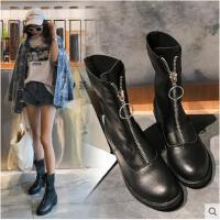 马丁靴女新款秋冬季韩版中跟短筒靴子女拉链百搭时尚休闲短靴