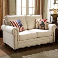 美式现代田园布艺沙发欧式三人位客厅单人沙发椅老虎椅组合小户型 +恒温棉