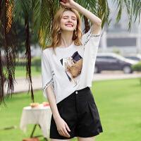 【惊喜价】Coolmuch女短T夏季宽松透气圆领印花短袖T恤衫JW5125