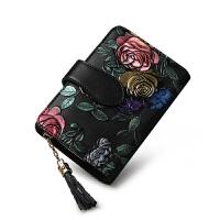 钱包女短款2018新款韩版女式卡包一体包时尚牛皮夹子个性小钱夹潮