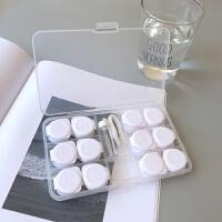 透明按压双联盒六副装隐形眼镜美瞳伴侣盒大容量护理收纳盒子d