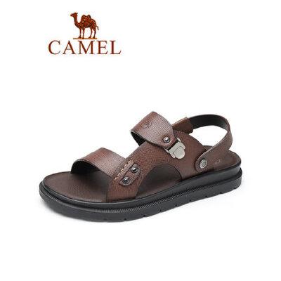 camel骆驼男鞋2019夏季新品商务休闲凉拖两穿牛皮凉鞋轻盈减震海边鞋子