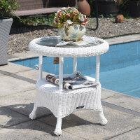 阳台白色藤编摇椅套装休闲桌椅组合户外休闲藤椅三件套