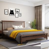 北欧实木床 现代简约1.8米主卧双人橡木床1.5m小户型单人日式婚床 +乳胶床垫+床头柜*2 1800mm*2000mm