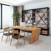 北欧实木办公桌老板桌 办公室总经理办公桌 工业风创意电脑桌