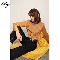 Lily春新款女装OL纯色荷叶边长袖V领雪纺衫118330C8677