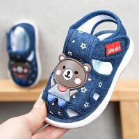 宝宝布凉鞋男夏季婴儿防滑软底叫叫鞋女学步鞋宝宝鞋子