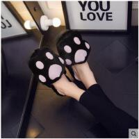 棉拖鞋厚底女韩版室内可爱毛毛熊掌月子软底毛绒时尚卡通个性女