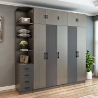 北欧衣柜简约现代经济型组装三四门卧室柜子实木质整体简易大衣橱