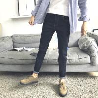 秋季简约纯色牛仔裤子男士黑色休闲潮流小脚长裤青年弹力韩版修身