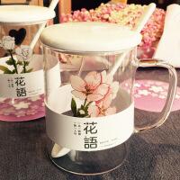 韩国文艺花语玻璃马克杯带盖勺创意水杯子可爱少女学生办公室茶杯